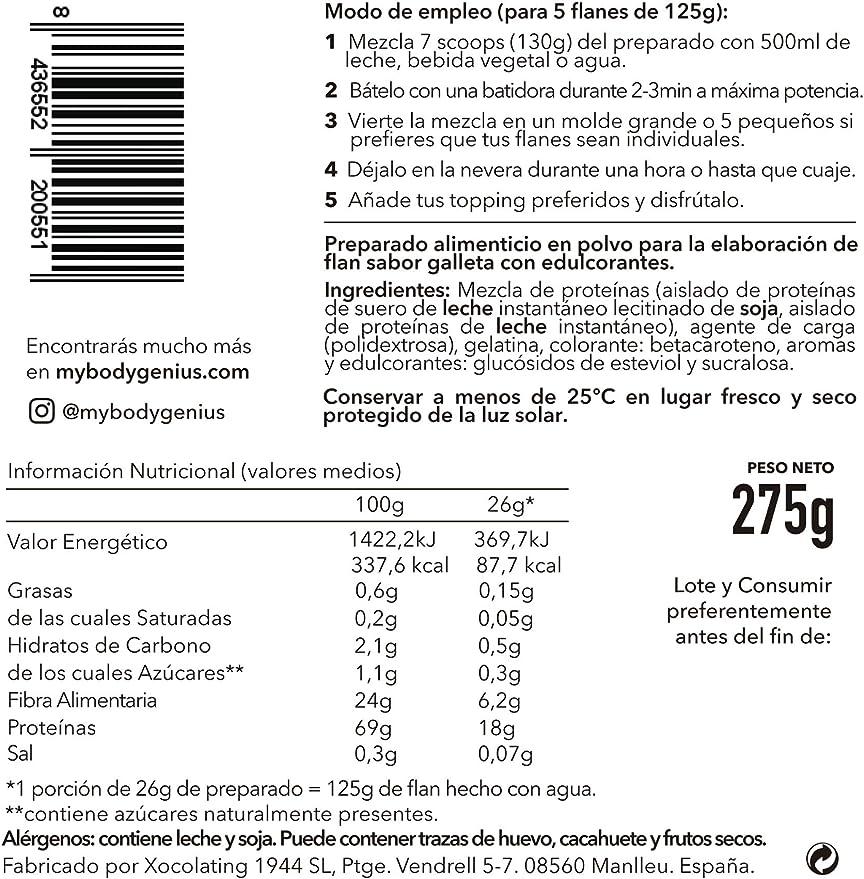 BODY GENIUS Protein Flan (Galleta). 275g. Preparado en polvo para flan proteico. Con Stevia y Sin Azúcares Ni Polialcoholes Añadidos. Alto en ...