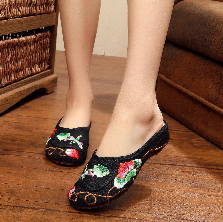 Feine gestickte Schuhe, Sehnensohle, ethnischer Stil, weiblicher Flip Flop, Mode, bequem, Sandalen  37 Black