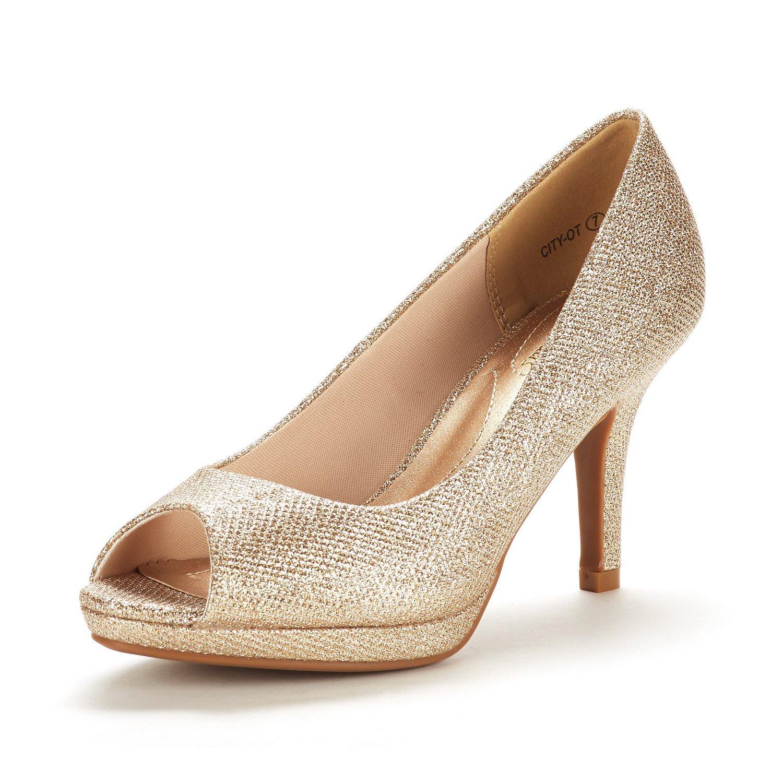 DREAM PAIRS Women's City_OT Gold GLIT Fashion Stilettos Peep Toe Pumps Heels Shoes Size 6 B(M) US
