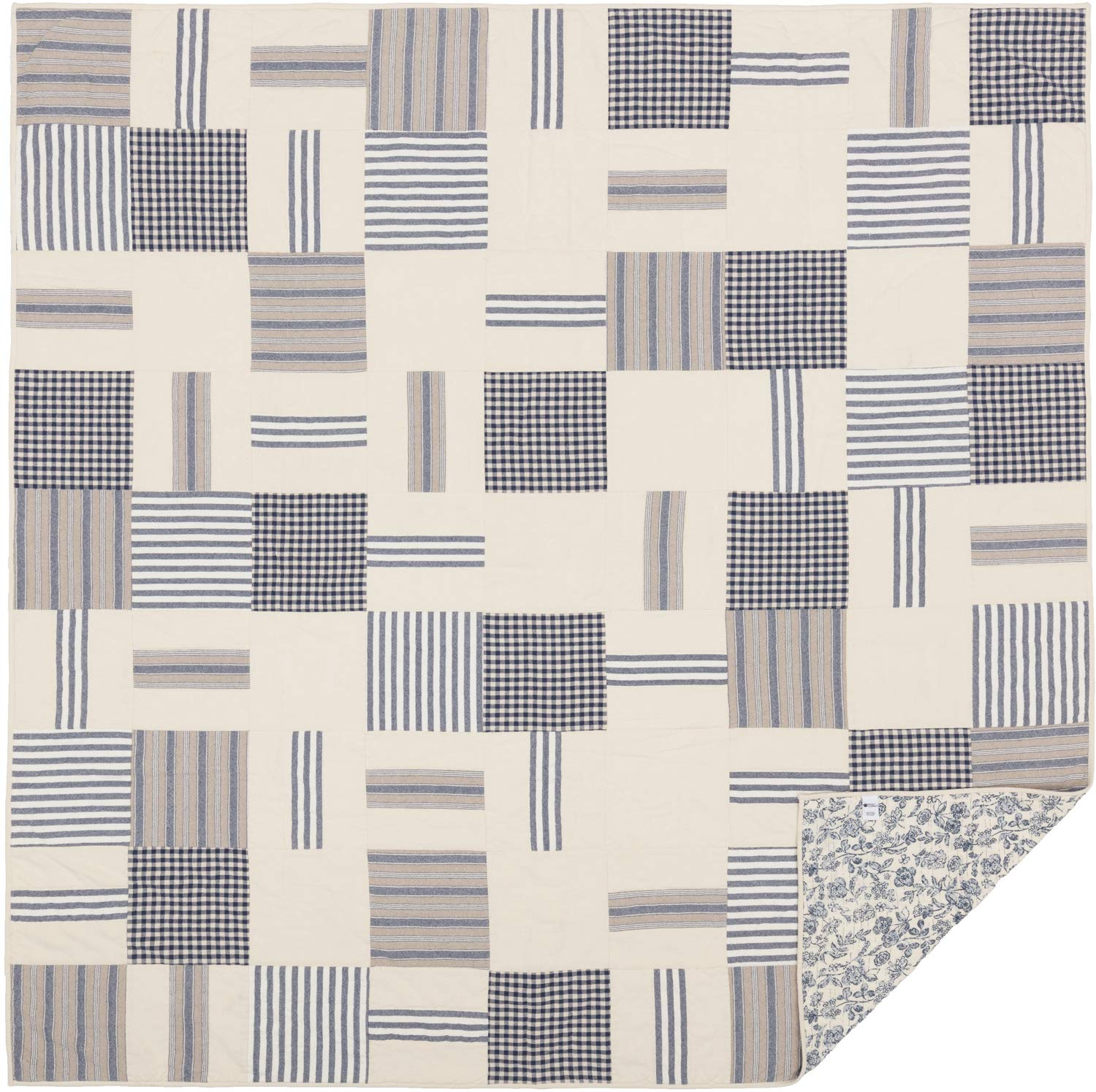 Piper Classics Doylestown Blue Queen Patchwork Quilt, Gingham Checks, Grain Sack & Ticking Stripes, Reversible to Floral Print, Blue & Cream Vintage Farmhouse Bedding, Rustic Country, Cottage Bedroom by Piper Classics (Image #7)