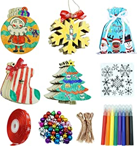 ORANDESIGNE Christmas Wooden Kits Unfinished Wooden 40 Pcs with 4-Colors Paintsbrush to Paint Unfinished Wood for DIY Art Crafts, Wood Carved Ornaments for Home Party Hanging Decoration