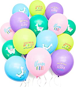 Llama Birthday Party Balloons in 5 Colors (12 Inches, 50-Pack)