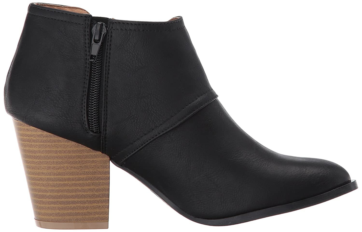 Qupid Women's Prenton-10 Ankle Bootie B06Y62TLRK 5.5 B(M) US|Black Burnish Polyurethane