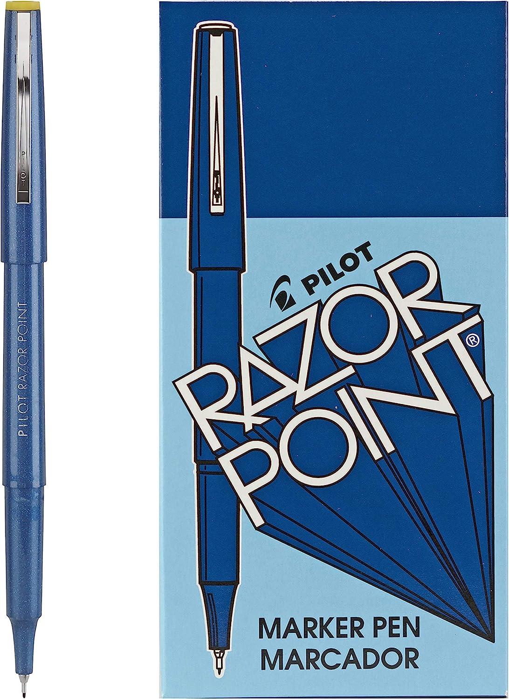 Ultra-Fine Point PILOT Razor Point Fine Line Marker Stick Pens Black Ink 1 Pack 12 Count 0.3mm