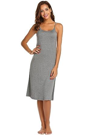 69d0b8dacc4c Ekouaer Sleeveless Nightgown Womens Cotton V Neck Sleepdress Satin Trim  Chemise
