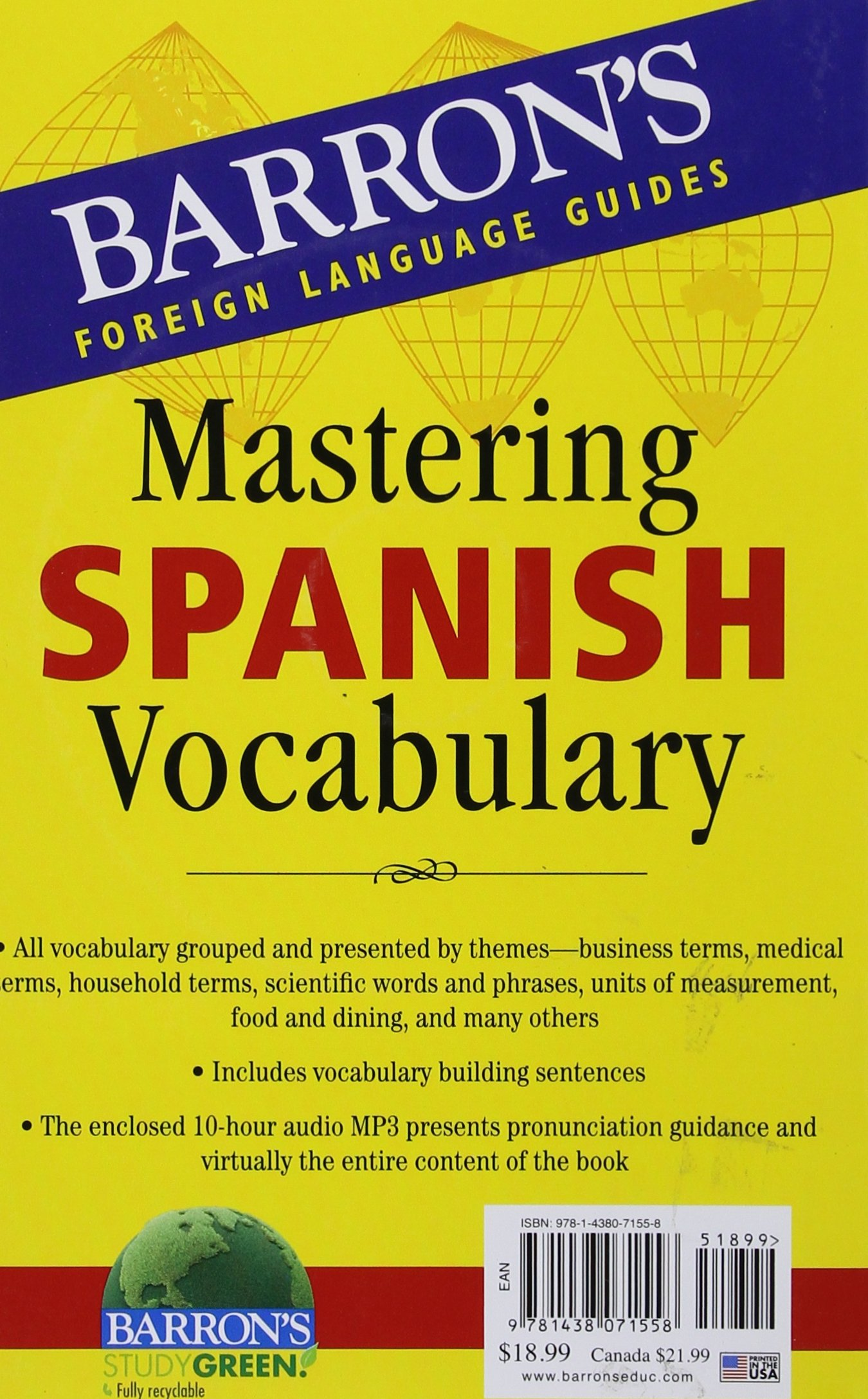 Amazon com: Mastering Spanish Vocabulary with Audio MP3 (Barron's