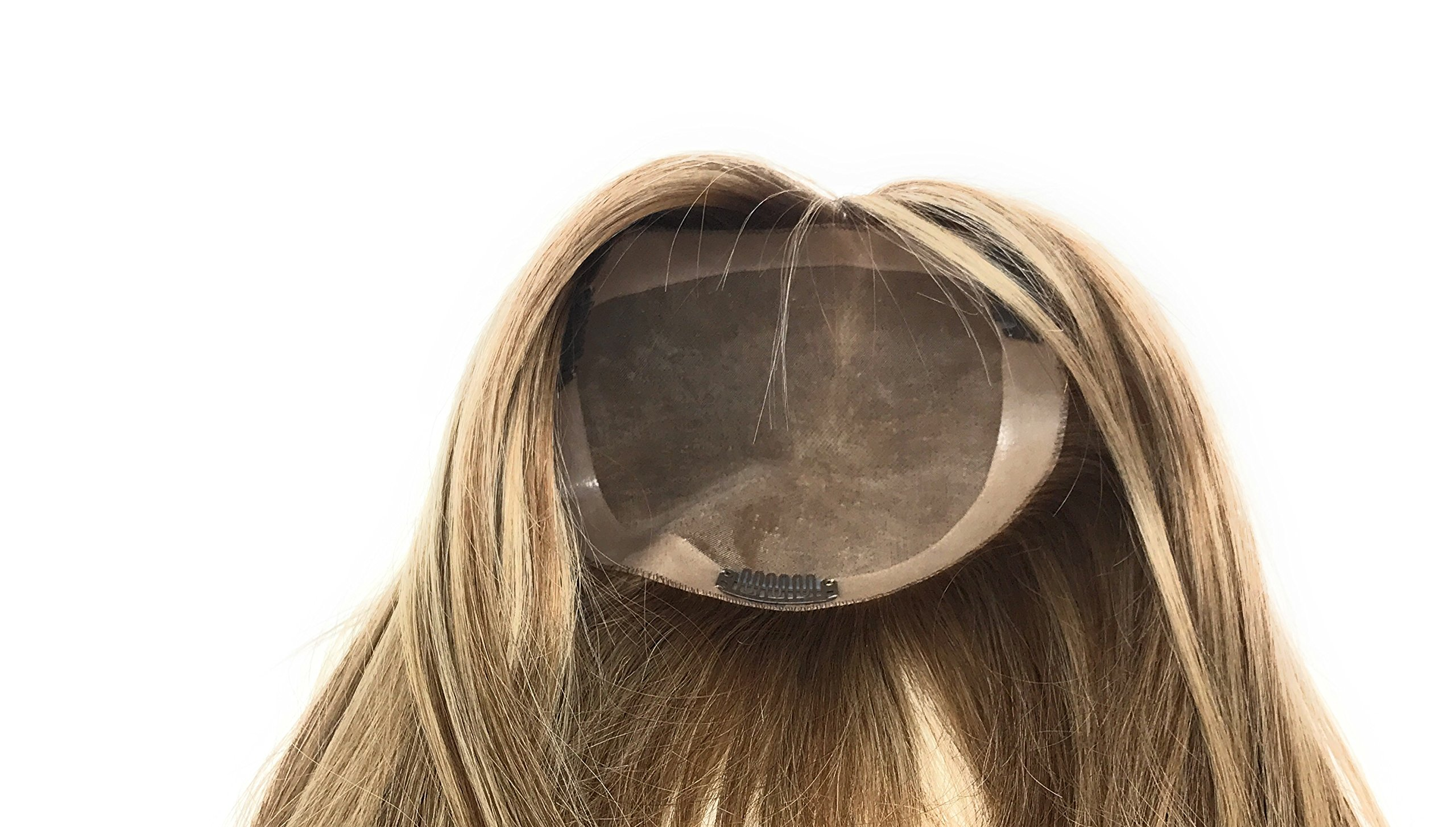 10 inch Long Straight Real Natural Human Hair – Women's Kippah Toppers - Monofilament Bondable Hairpiece Closure / Cover Color #6/613 Light Brown W/ Platinum