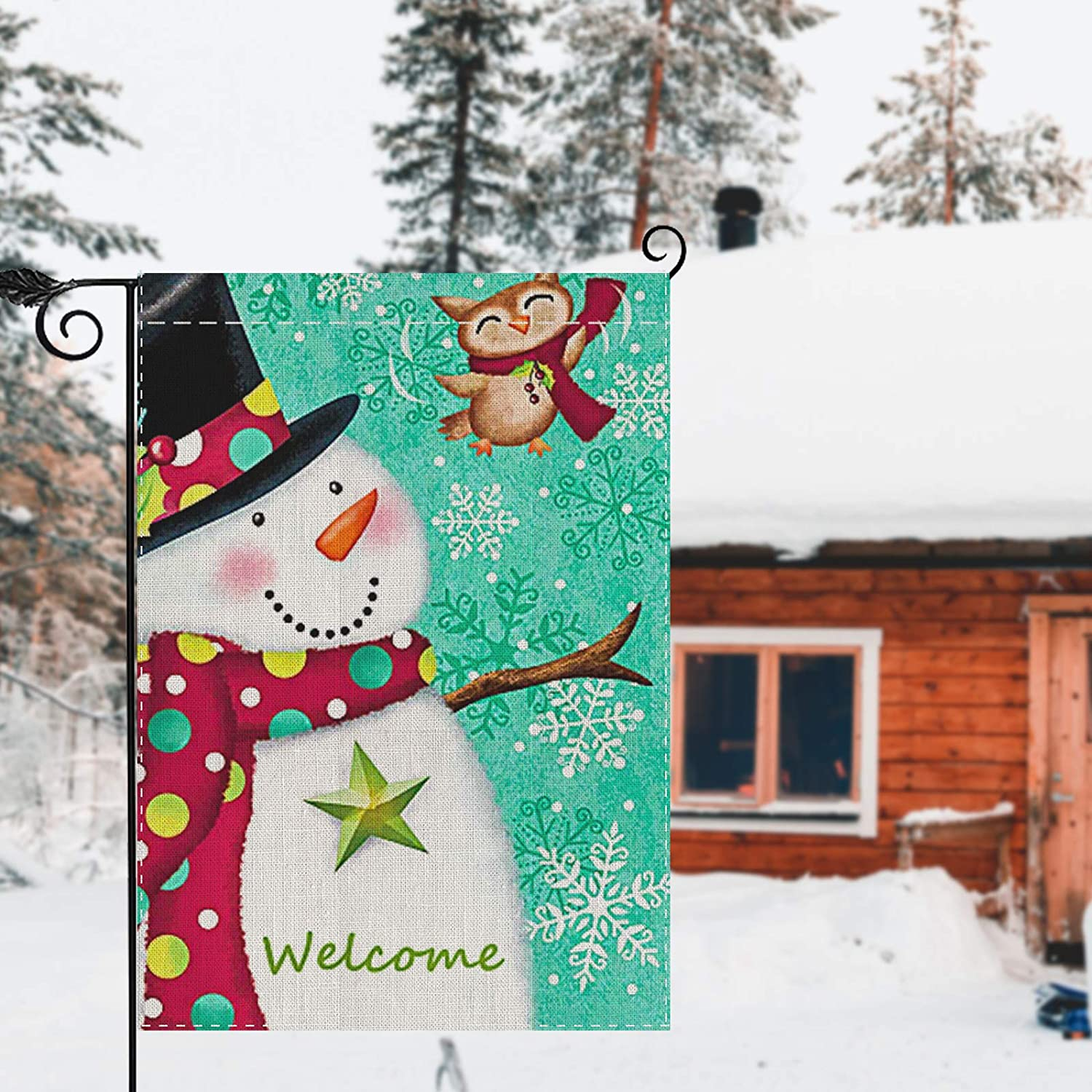 TGOOD Merry Christmas Garden Flag, Double Sided Home Decorative Nativity Xmas Rustic Winter Snowman Yard Sign Flag Banner, Vintage New Year Seasonal Outdoor Burlap Flag 12.5 x 18 Holiday