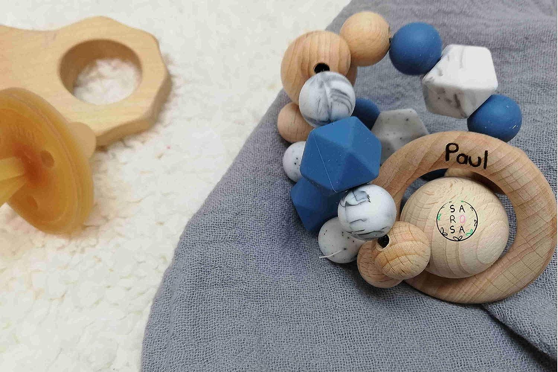 Greifball Holz mit Namen | Greifling Beiß ring Beissring Rassel Holzspielzeug
