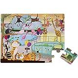 Janod - J02774 - Puzzle Tactile - Journée Zoo - 20  Pièces