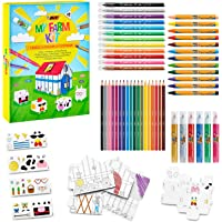 BIC Kids My Farm Colouring Set - 12 Colouring Markers/12 Wax Crayons/ 12 Colouring Pencils/1 Eraser/1 Glue Stick/6…