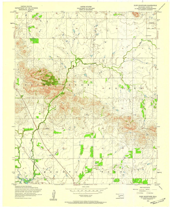 Amazon.com: Oklahoma Maps | 1956 Glen Mountains, OK USGS Historical ...