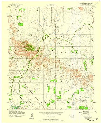 Topographic Map Oklahoma.Amazon Com Oklahoma Maps 1956 Glen Mountains Ok Usgs Historical