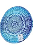 Roswear Mandala Tapestry Round Towel Beach Throw Roundie Tablecloth Blanket Wall Hanging Blue