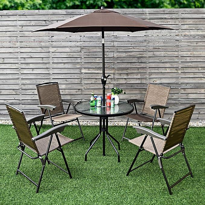 Amazon.com: Goplus Juego de mesa de patio con 4 sillas y ...