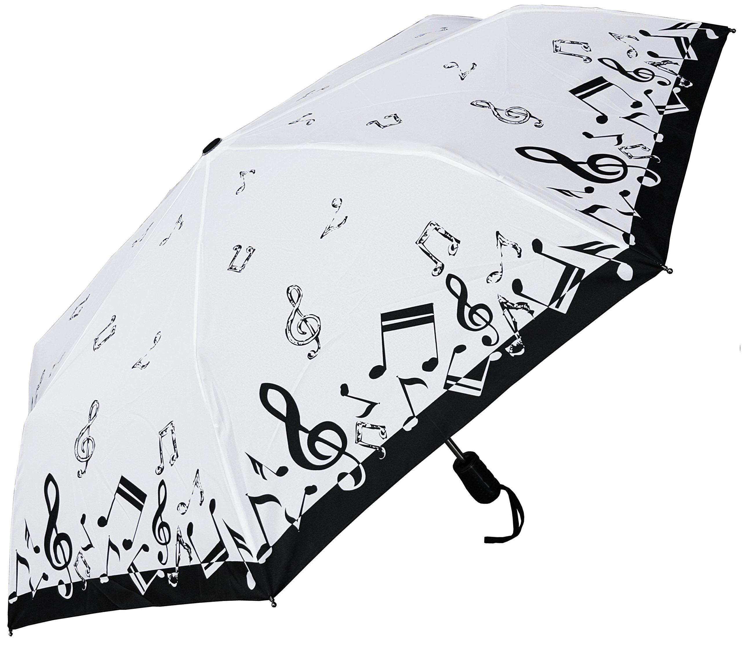 RainStoppers Umbrella 44'' Auto Open Auto Close Mini Music Design, Black/White, 44'' Arc