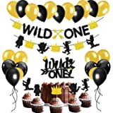 Glitter Wild One Party Decoration Set Wild One Arrow Banner,Wild Things Feather Cake And Cupcake Toppers,Black And Gold…