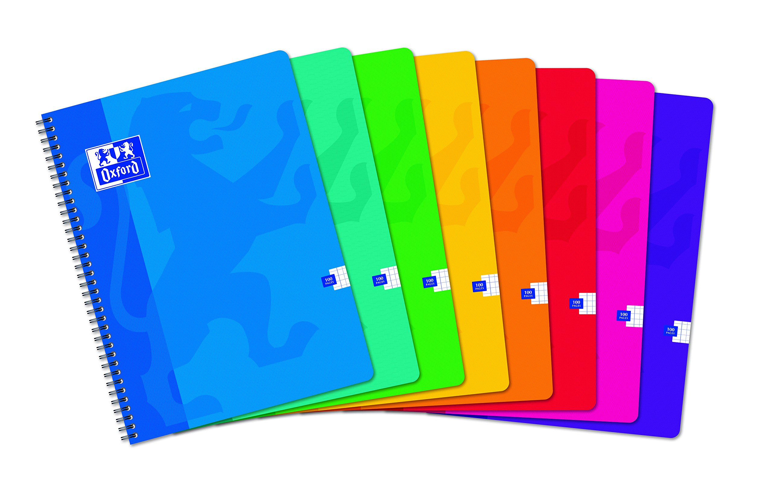 Oxford School Pack of 10 Spiral-bound notebook with small 5 x 5 Squares 24 x 32 cm - 100 pages-Assorted Colours