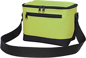 Lunch Bag, BuyAgain 600D Poly Small 6 Pack Insulated Reusable Lunch Cooler Bag PEVA Water-resistant Lining for Women Men Adult Work School, Apple Green