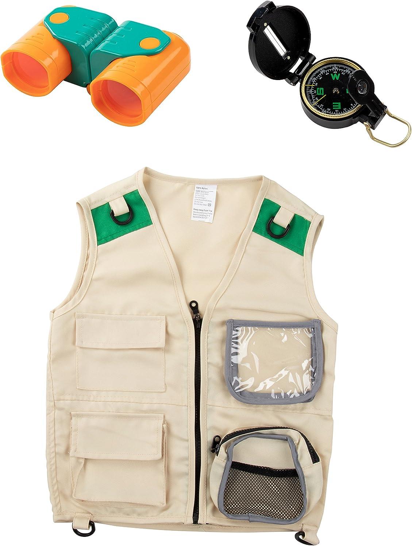 Blue Panda Kit de Chaleco para niños (brújula y binoculares) Juego de Disfraces o Disfraz de Safari en la Naturaleza para Fiesta de Halloween Paquete de 3 Multicolor