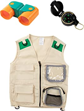 Blue Panda Kit de Chaleco para niños (brújula y binoculares) Juego ...