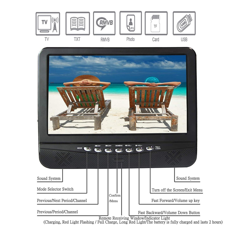 sintonizzatore digitale DVB-T2 pu/ò guardare programmi TV in interni o allaperto con batteria di ricarica tuta per paese Europa TV LCD portatile