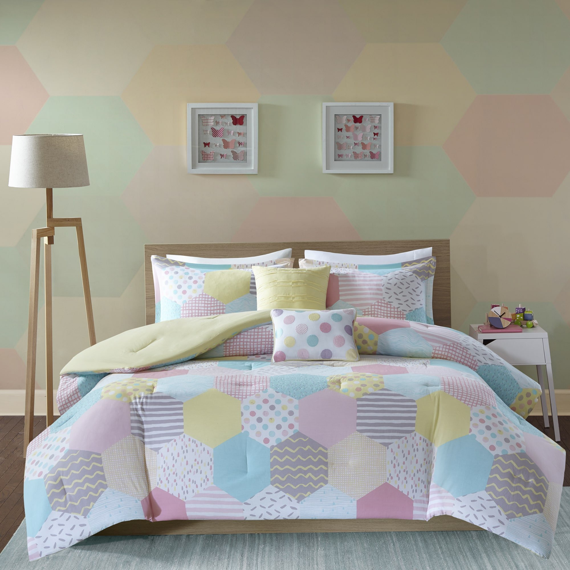 Lovely Soothing Pastels Dots/Patch/Stripes Would Go With Any Room Decor Hypoallergenic Machine Washable Super Soft Comfy Kids PINK/YELLOW/PURPLE Tana Cotton TWIN/TWIN XL Comforter Set