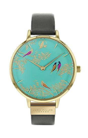 Sara Miller Chelsea Collection SA2000 - Reloj de Pulsera (Correa de Piel, Chapado en Oro), Color Gris: Amazon.es: Relojes