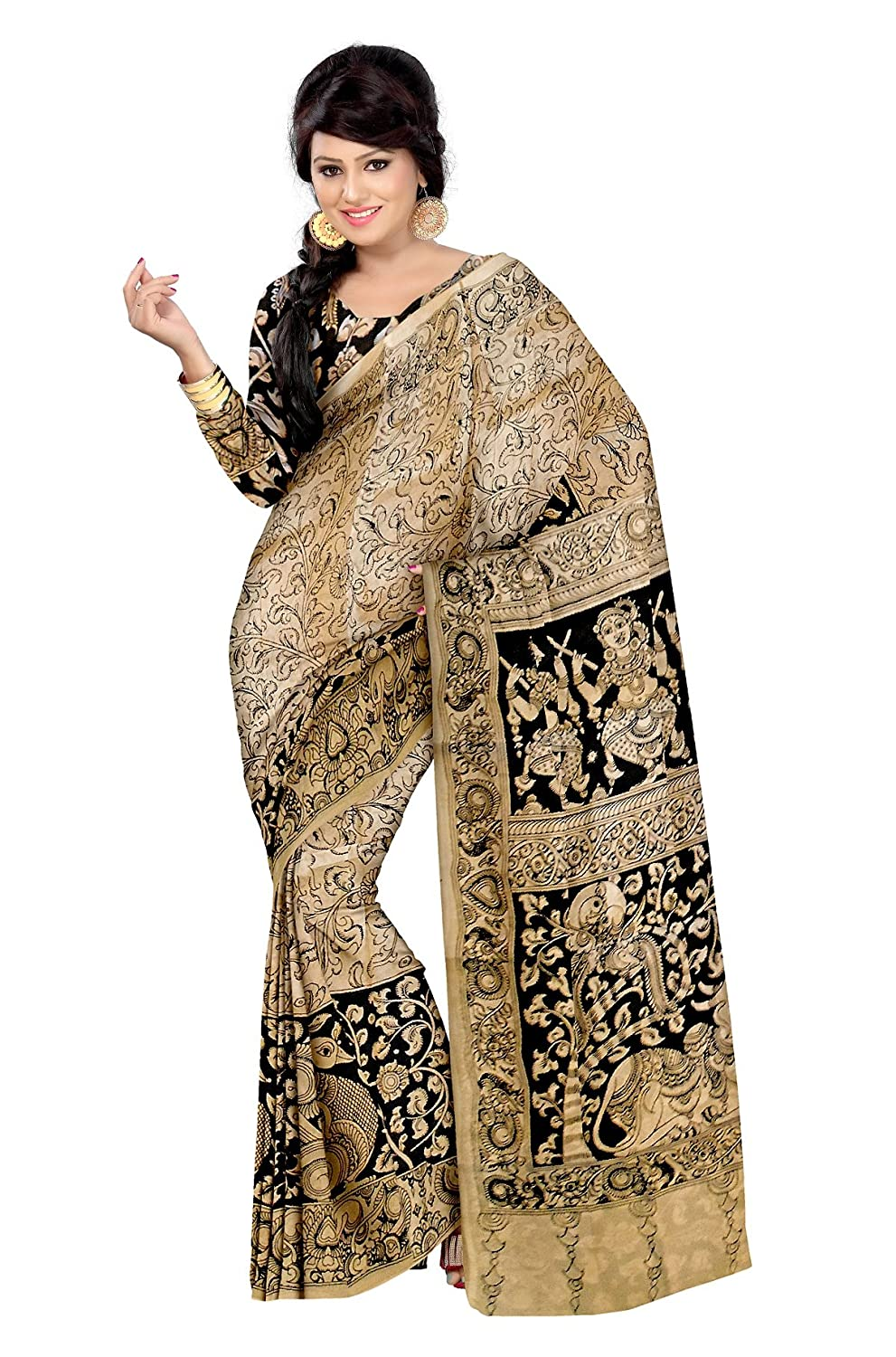 c3af340068342 Mistyque Black and beige hand painted cotton Kalamkari saree  Amazon.in   Clothing   Accessories