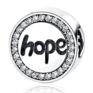 Faith Hope Charm Best Wish Clear CZ Bead Charms Fit Pandora Bracelet Necklaces Jewelry Birthday Gifts