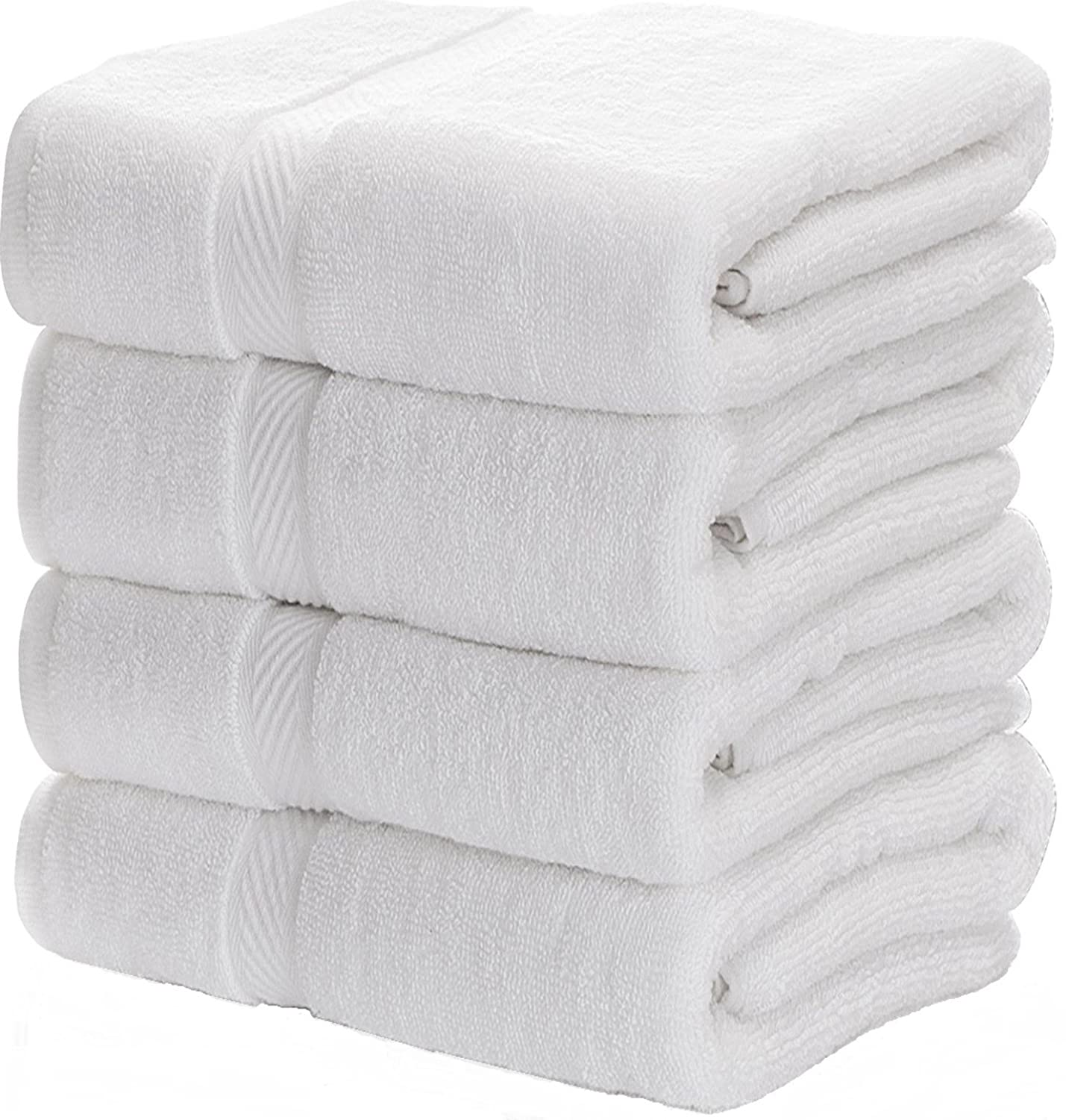 Luxury White Bath Towels for Bathroom-Hotel-Spa-Kitchen-Set - Circlet Egyptian Cotton - Highly Absorbent Hotel Quality Towels - 27x54 Inch - Bulk Set of 4 Opabt27-4