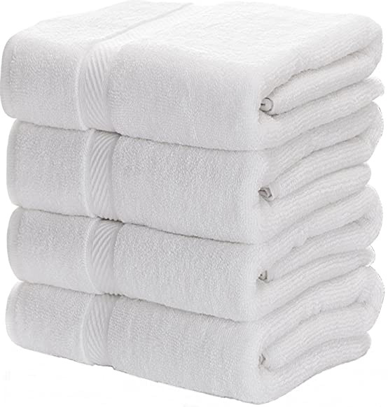 Premium Bath Towels, Circlet Egyptian Cotton White Towel Set, Hotel Quality Soft and Highly Absorbency Towels (Pack of 4, 27x54 Inch)