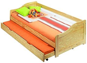 Abitti Sofa Cama con somier y Ruedas y Estructura de Madera 208,4x66,5x96 cm para colchones de 90x190 cm