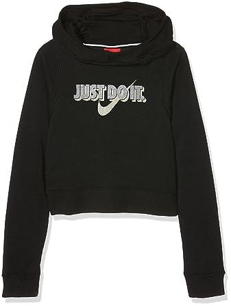Nike felpa Hoodie Crop cappuccio Nera Bambina Acquista