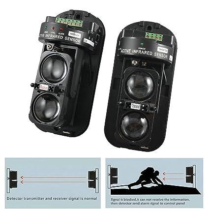 GuDoQi Detector IR de Seguridad de Doble Haz 100m Fotoeléctrico Alarma de Seguridad en el Hogar