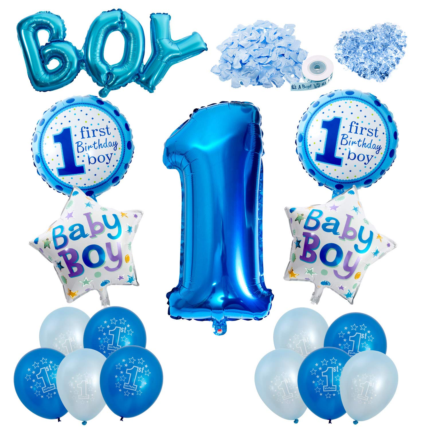 Vordas Happy Birthday Baby Boy Jungen 1 Geburtstag Party Luftballons Set Supplies Perfekte Dekoration Fur Babyparty Amazonde Spielzeug