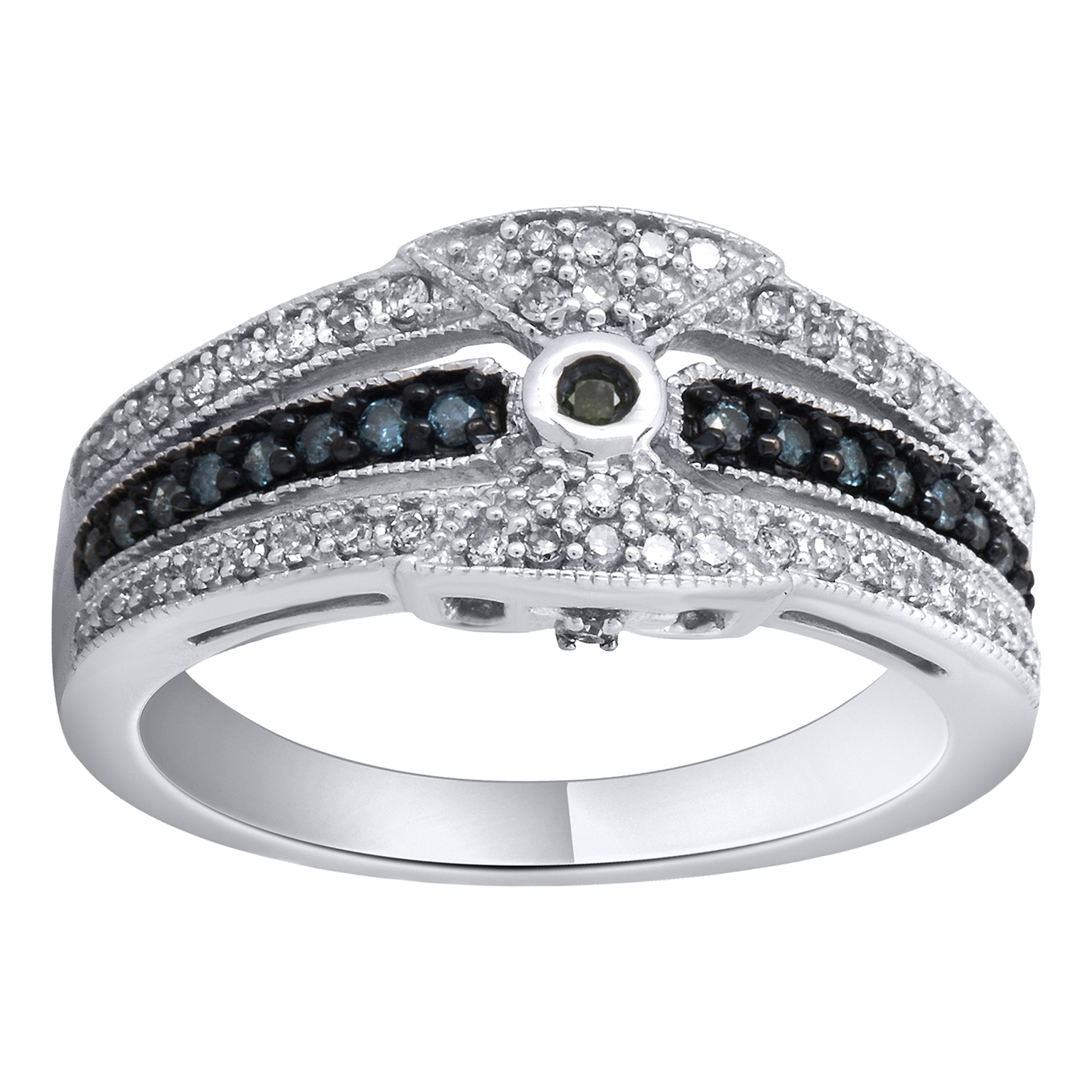 Sterling Silver 1/3cttw Blue Green and White Diamond Promise Ring