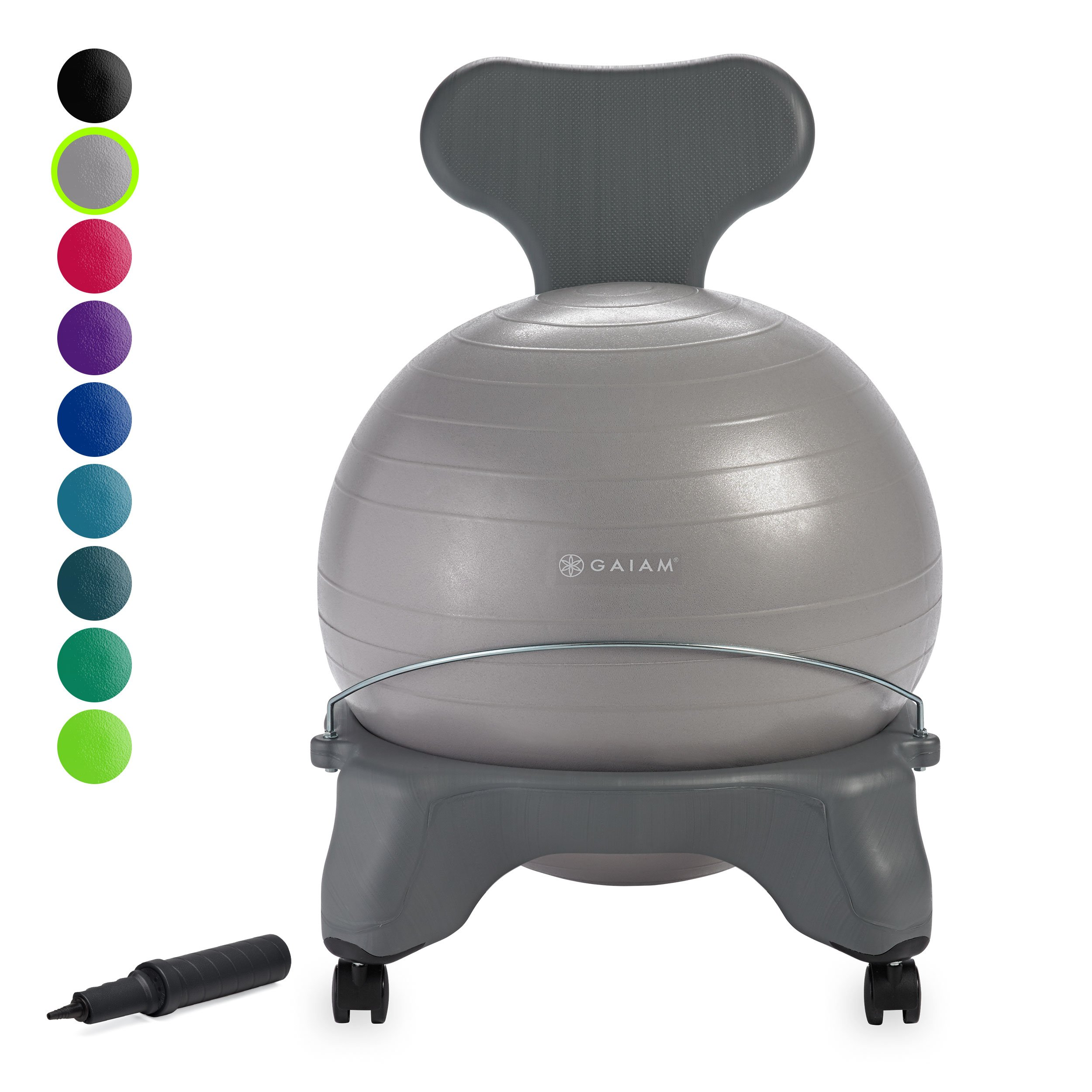 Gaiam Classic Balance Ball Chair - Exercise Stability Yoga Ball Premium Ergonomic Chair for Home and Office Desk with Air Pump, Exercise Guide and Satisfaction Guarantee, Cool Grey by Gaiam