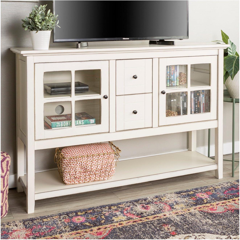 Amazon Com Saracina Home 52 Wood Console Table Buffet Tv Stand Antique White Furniture Decor