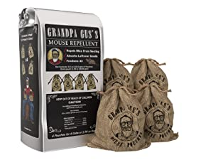 Grandpa Gus's Mice Repellent Pouches Natural Peppermint Oil Mouse Trap Rodent Alternative 4 Pk