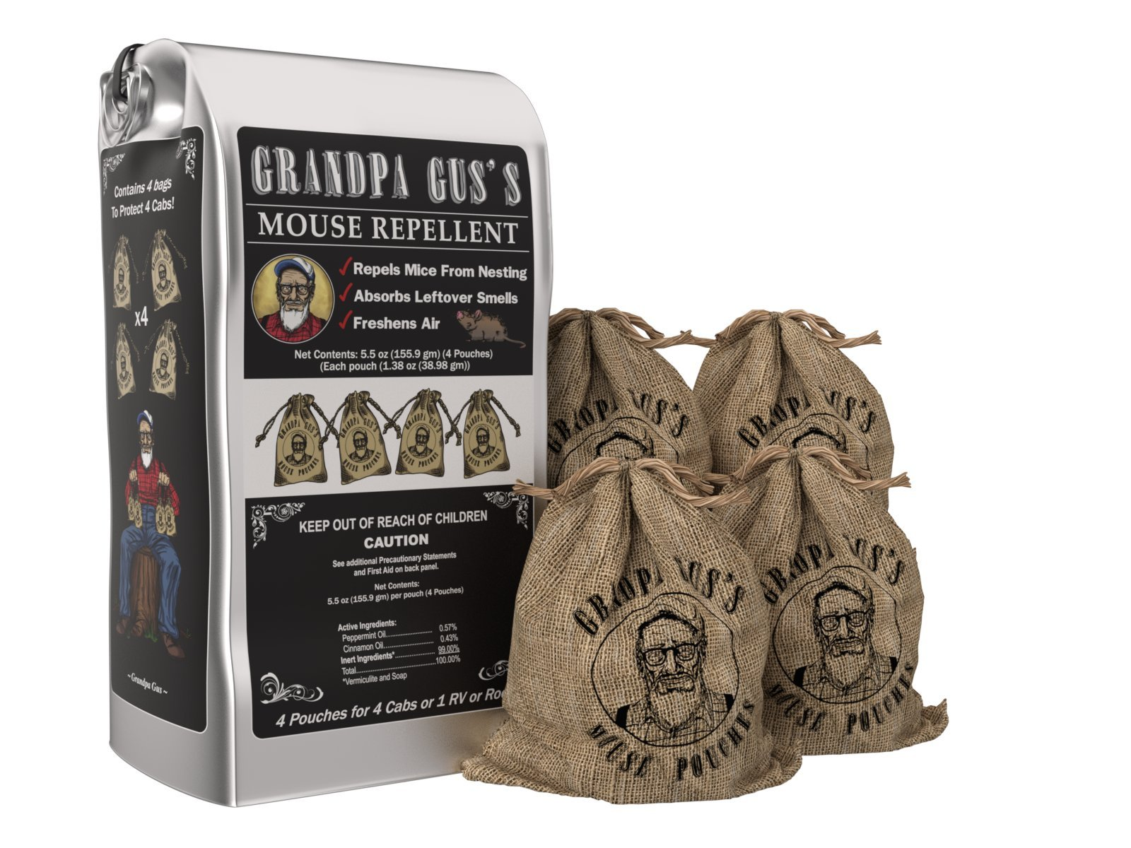 Grandpa Gus's Mice Repellent Pouches - Natural Peppermint Oil Mouse Trap Rodent Alternative - 4 Pk