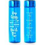 32oz Inspirational Fitness Workout Sports Water Bottle with Time Marker | Measurements | Goal Marked Times For Measuring Your H2O Intake, BPA Free Non-toxic Tritan