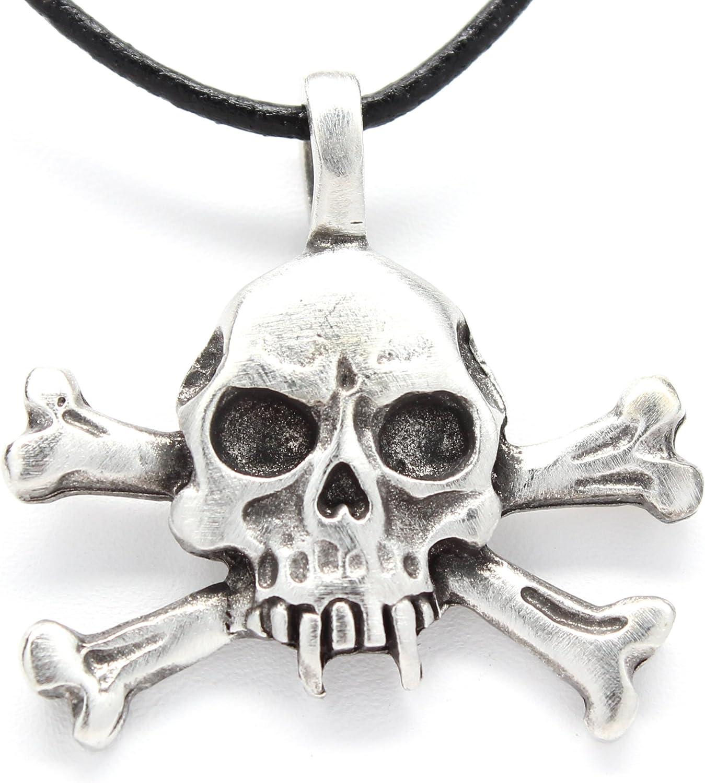 Skull head on cross leather choker