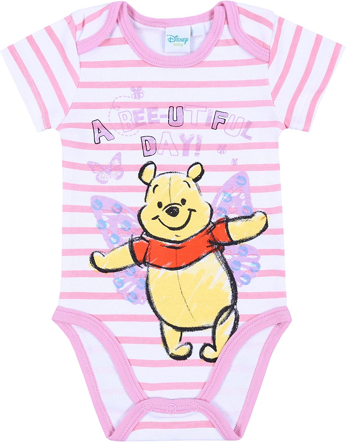 1 x Pink//White Striped Bodysuit for Baby Girls Winnie The Pooh Disney