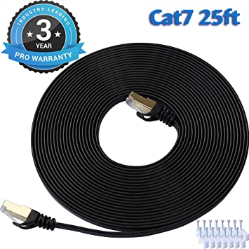 New Super Speed CAT 7 Premium Performance 10Gbps 600MHz Ethernet Lan Cable 25FT