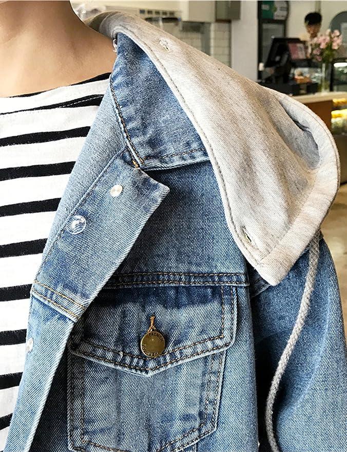 36cad0484b7a Gihuo Women s Oversized Loose Boyfriend Denim Jacket Hooded Jean Jacket at  Amazon Women s Coats Shop