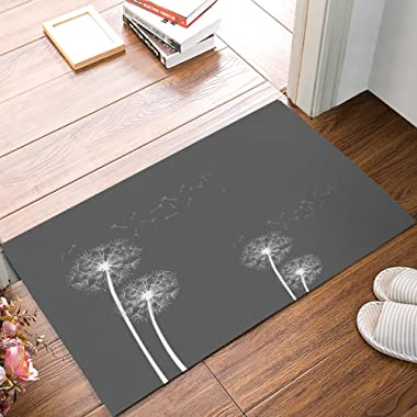ALAGO Thistles Dandelions Flowers Grey Doormats Entrance Front Door Rug Outdoors/Indoor/Bathroom/Kitchen/Bedroom/Entryway Floor Mats,Non-Slip Rubber,Low-Profile