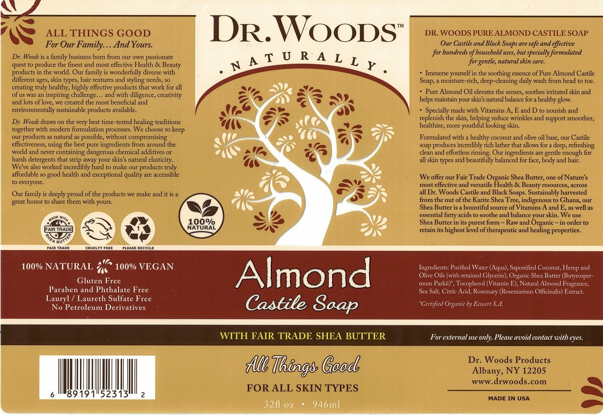 Amazon.com : Dr. Woods Pure Almond Liquid Castile Soap with Organic ...
