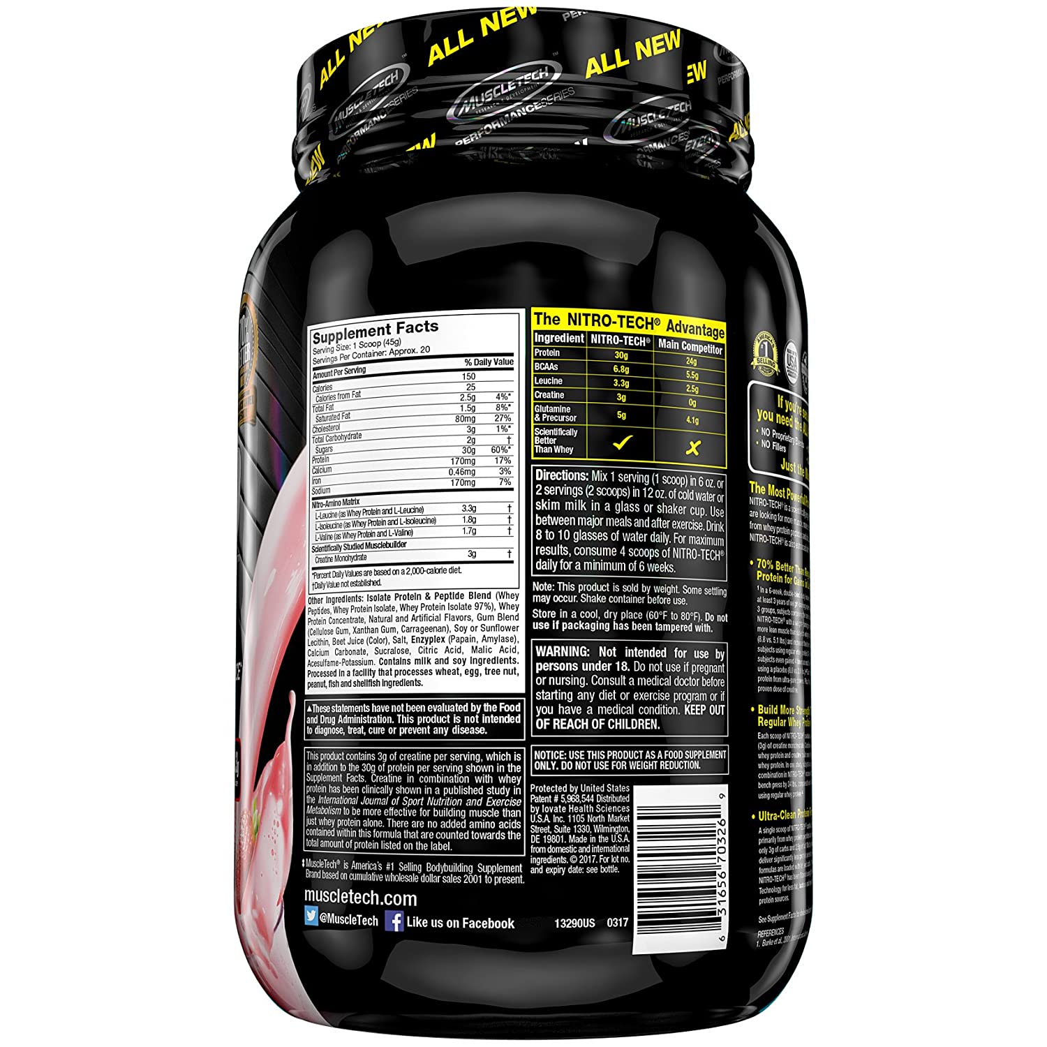 Muscletech Performance Series Nitro-Tech Strawberry - 900 gr: Amazon.es: Salud y cuidado personal