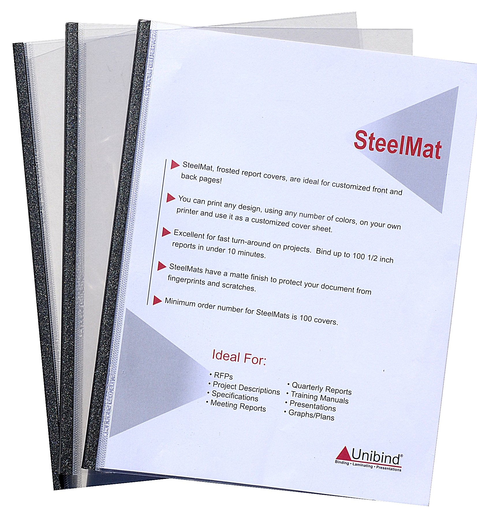 Unibind 5mm - Graphite - 100pcs SteelMat Frosted Covers
